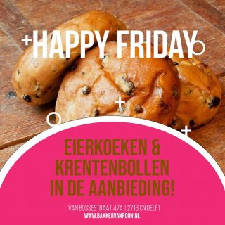 Fijne vrijdag! Vandaag zijn de eierkoeken en krentebollen in de aanbieding Uiteraard hebben we ook allerlei lekkere dingen voor het weekend. Taartjes, pepernoten, banket staaf, gebakjes, verse bolletjes en croissantjes. Het team heeft alles weer met passie gebakken. . . #vrijdag #bijnaweekend #happyfriday #bakker #bakkervanroon #bakkerij #brood #broodbakken #patisserie #bakken #delft #gebak #contactloosbrood #samenwerking #ambachtelijk #weetwatjekoopt #versbrood #samensterk #winkel #online