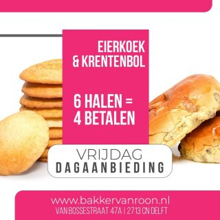 Dagaanbieding van de vrijdag! ⠀⠀⠀⠀⠀⠀⠀⠀⠀ ⠀⠀⠀⠀⠀⠀⠀⠀⠀ #komtvoordebakker #bakker #bakkervanroon #bakkerij #brood #broodbakken #patisserie #bakken #delft #gebak #contacloosbrood #samenwerking #ambachtelijk #weetwatjekoopt #versbrood #samensterk #winkel #online