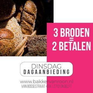 DAGAANBIEDING VAN DEZE DINSDAG!  #komtvoordebakker #bakker #bakkervanroon #bakkerij #brood #broodbakken #patisserie #bakken #delft #gebak #contactloosbrood #samenwerking #ambachtelijk #weetwatjekoopt #versbrood #samensterk #winkel #online